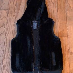 Girls Hooded Fur Vest